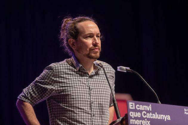 Pablo Iglesias, el pasado 12 de febrero, en el cierre de campaña de las elecciones