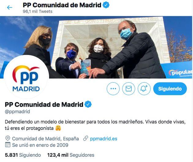 Captura de pantalla de la cuenta de Twitter del PP de