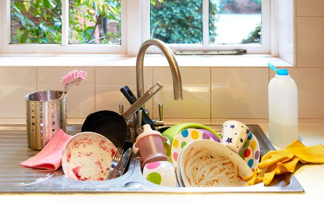 Dirty washing up in
