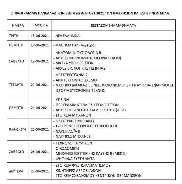 Το πρόγραμμα των πανελλαδικών εξετάσεων για ΓΕΛ και
