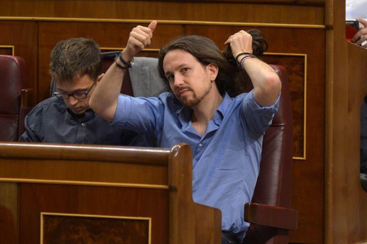 Pablo Iglesias durante la sesión de investidura en el Congreso en agosto de 2016.