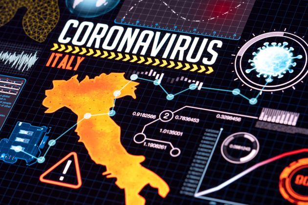 Pandemic covid-19 data and research concept. Hud style geographic analyze data on futuristic technology...