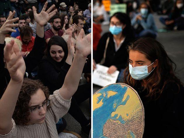 Montaje con una imagen del 15-M (i), en 2011, y otra (d) de una manifestación de Fridays for Future,...