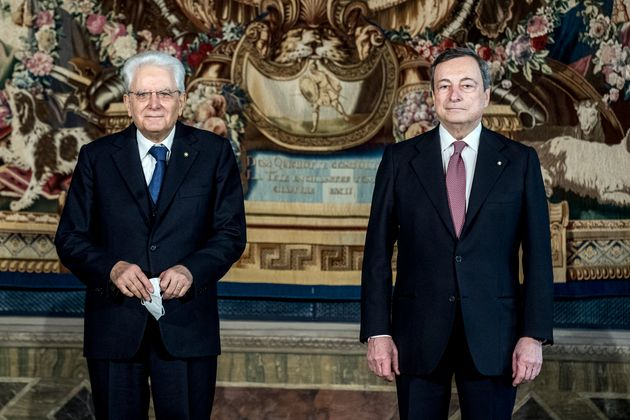 ROME, ITALY - FEBRUARY 13: Italian President Sergio Mattarella(C) and Italian Prime Minister Mario Draghi...