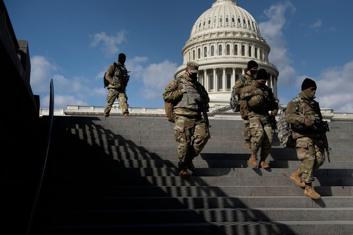 Members of the National Guard patrol the grounds of the U.S. Capitol on March 4, 2021, in Washington, D.C., after the FBI and