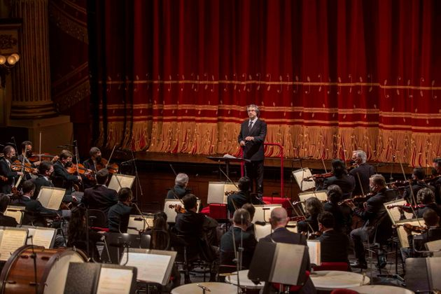 epa09192214 A handout photo made available by the Teatro alla Scala press office shows Italian conductor...