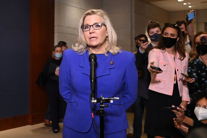 Rep. Liz Cheney (R-Wyo.) speaks to the media at the US Capitol in Washington, D.C, on May 12.