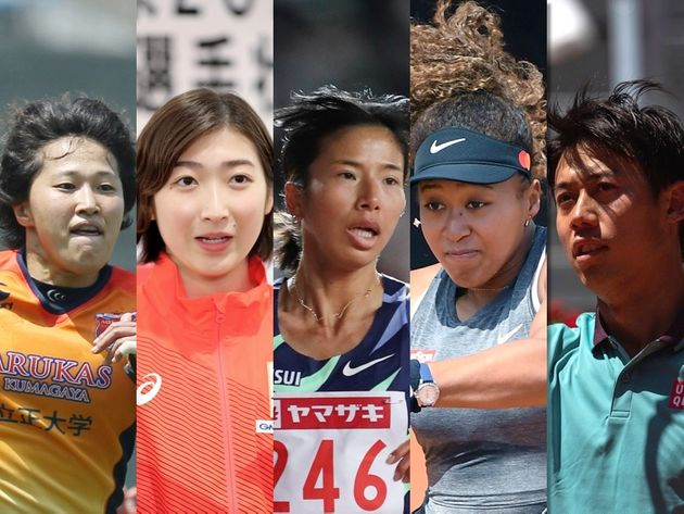 左から中村知春、池江璃花子、新谷仁美、大坂なおみ、錦織圭各選手