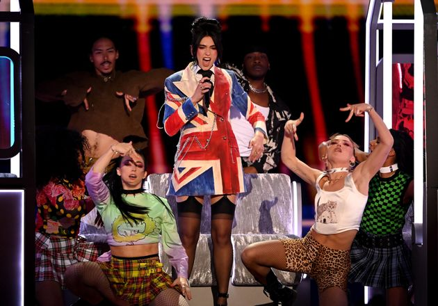 Dua Lipas Spice Girls-Inspired Brits Outfit Gets Geris Official Seal Of Approval