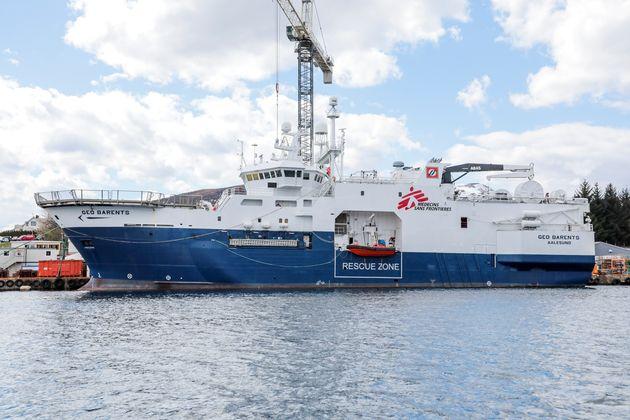 La nuova nave noleggiata di MSF, la M/V Geo Barents nel cantiere navale di Fiskarstrand in Norvegia,...
