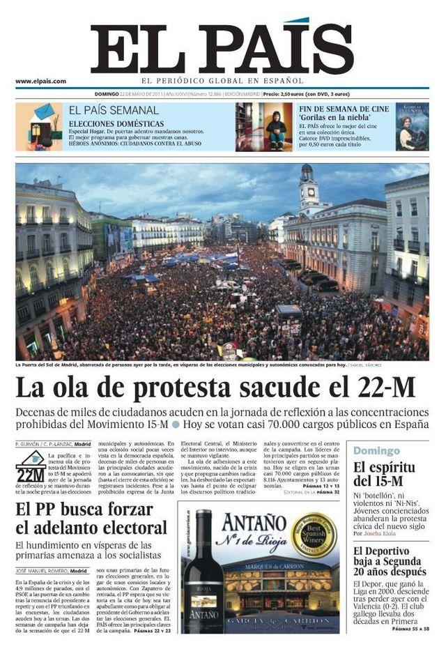 Portada de 'El País' del 22 de mayo de 2011 que recoge una de las mayores concentraciones del