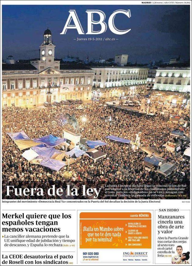 Portada de 'ABC' del 19 de mayo de 2011, que retrataba una abarrotada plaza de la Puerta del