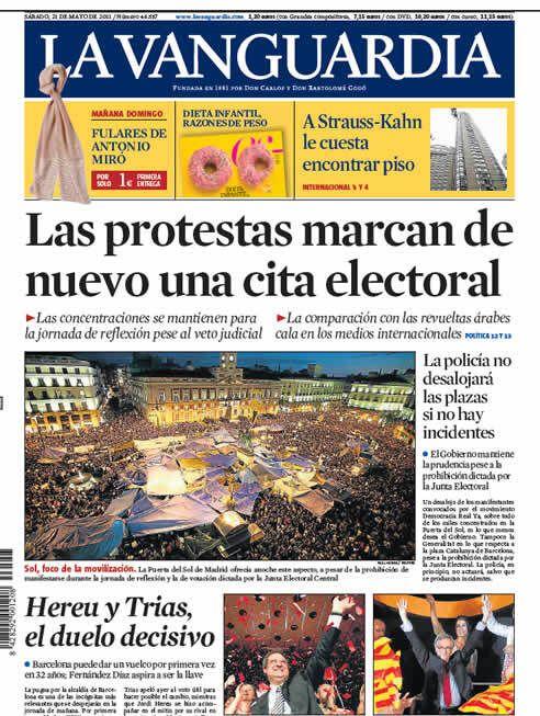 Portada de 'La Vanguardia' del 21 de mayo de