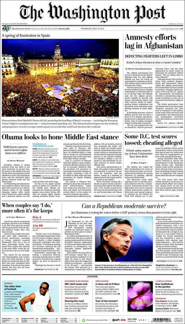 Portada del diario estadounidense con la imagen de la protesta en