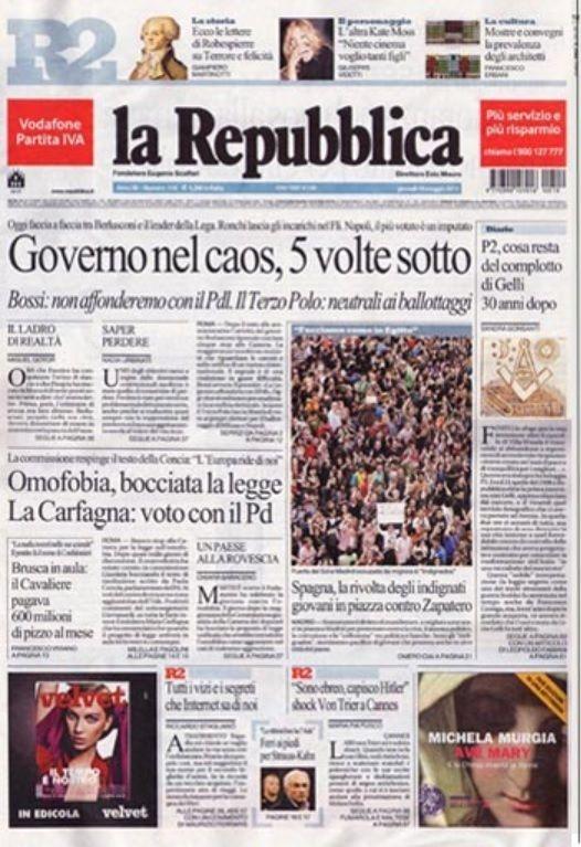 Portada del periódico italiano 'la Repubblica' sobre el
