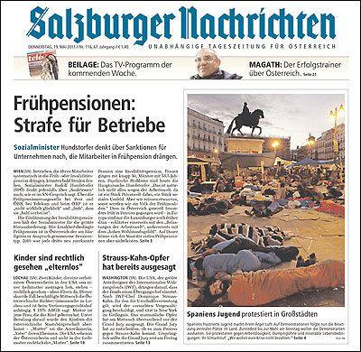Portada del periódico austríaco 'Salzburger Nachrichten' que recogía la acampada...