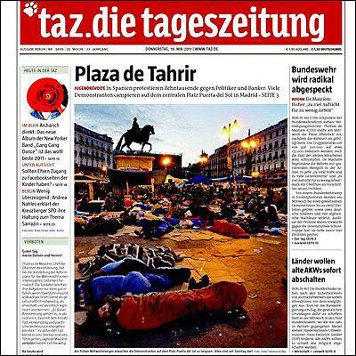 Portada del periódico alemán 'Taz', que comparaba la acampada de Sol con la toma de la...