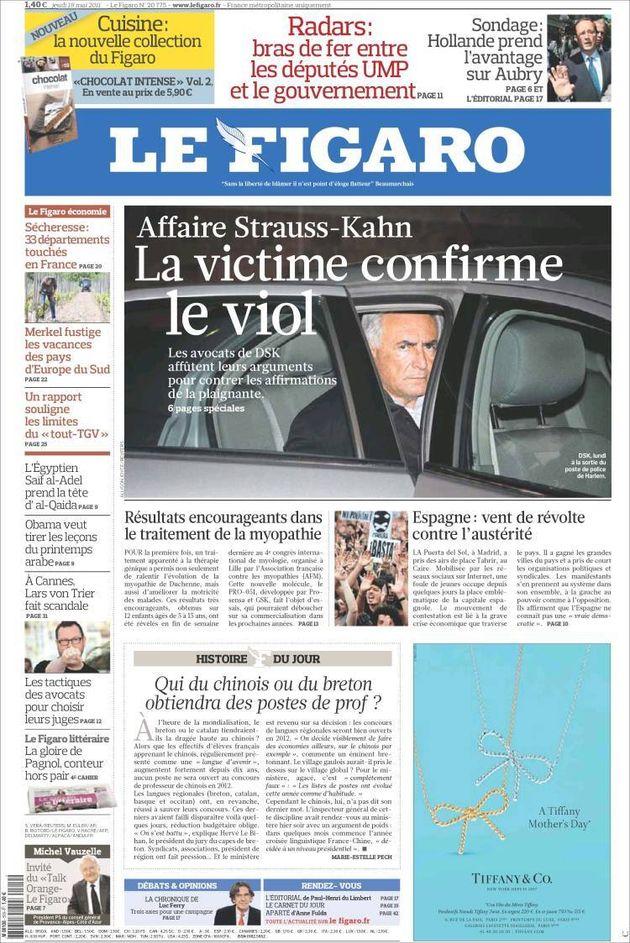 Portada del diario francés 'Le Figaro', que recoge en una imagen secundaria un detalle de una...