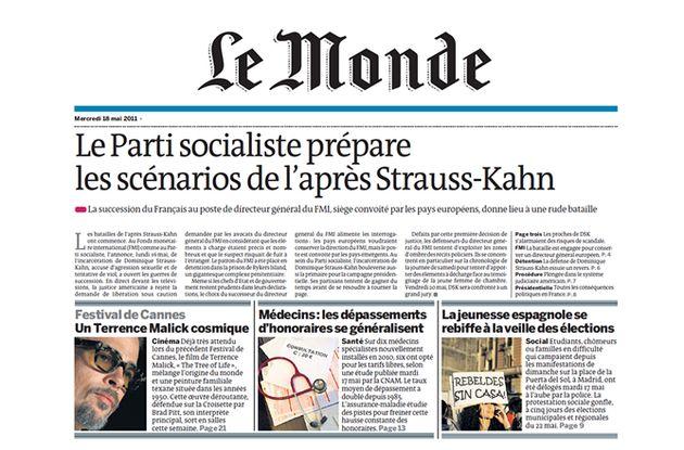 Portada del diario francés 'Le Monde' con una pancarta de un