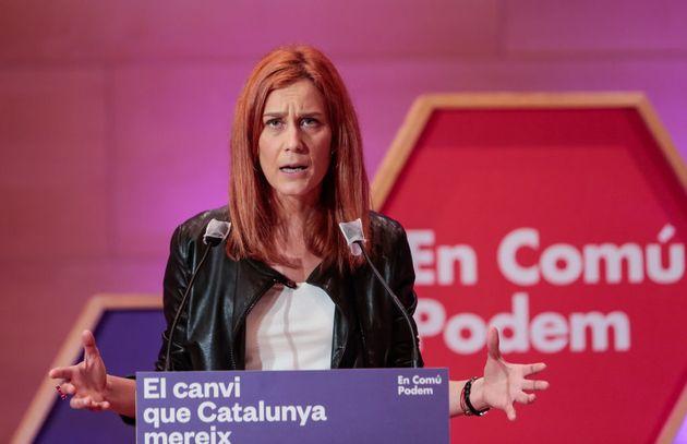 La portavoz de los 'comunes' en el Parlament, Jéssica Albiach, el pasado 6 de febrero en un acto de