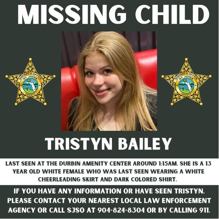 Tristyn Bailey, 13, was found stabbed to death Sunday evening, hours after she was reported missing by family.