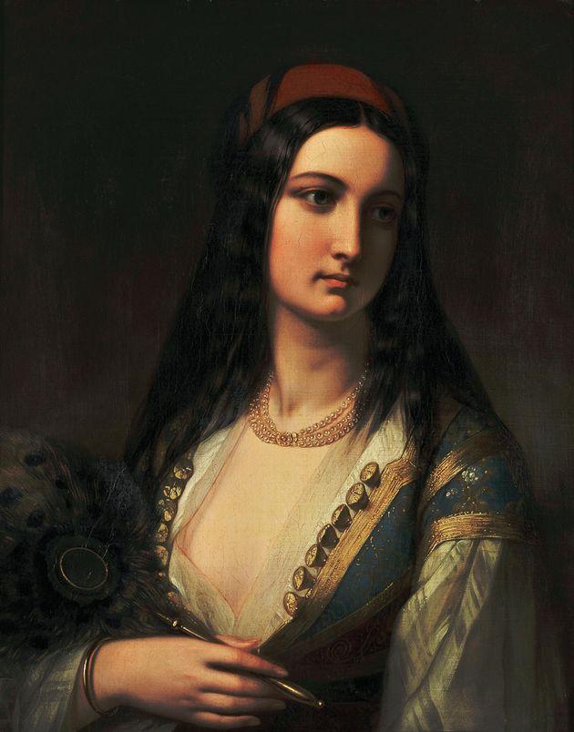 Νεαρή Ελληνίδα με Βεντάλια, Αγνώστου, Γαλλικής σχολής, μέσα 19ου αιώνα, Λάδι σε μουσαμά, 66 X 52 εκ.,...