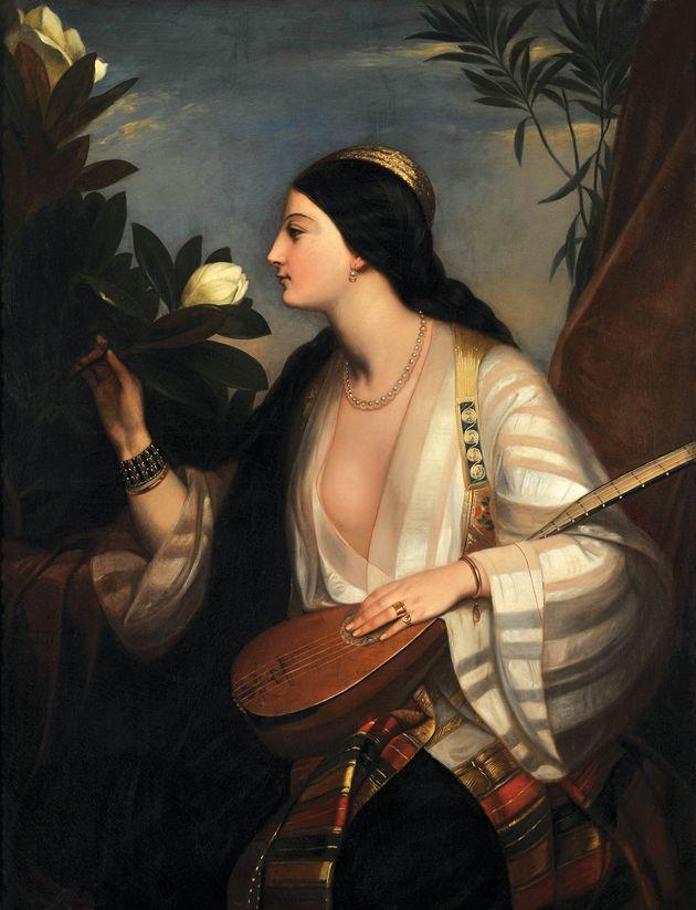 Ελληνίδα που παίζει λαγούτο, 1847 Charlemagne- Oscar Guet (1801-1871), Λάδι σε μουσαμά, 120 X 94 εκ.,...