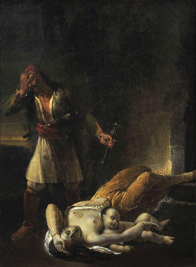 Έλληνας Αγωνιστής θρηνεί τη νεκρή γυναίκα και το παιδί του, Αγνώστου, Γαλλικής σχολής, γύρω στο 1830,...