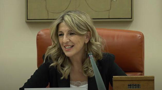 Yolanda Díaz, durante su intervención en el Congreso de los