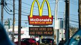 "Sinking Spring, PA - April 8: The sign at the McDonald's restaurant on Penn Ave in Sinking Spring, PA April 8, 2021 with a message on a board below it that reads ""Work Here $15 And Free Meals"". (Photo by Ben Hasty/MediaNews Group/Reading Eagle via Getty Images)"