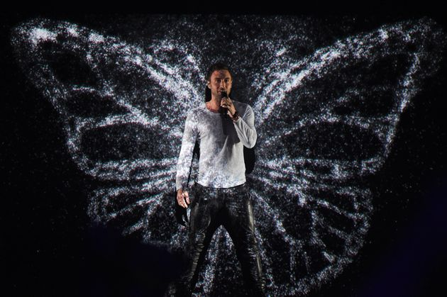 Måns Zelmerlöw performing at Eurovision in