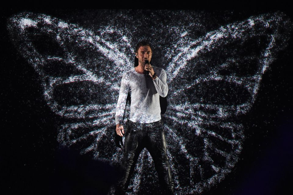 Måns Zelmerlöw on stage at the Eurovision final in