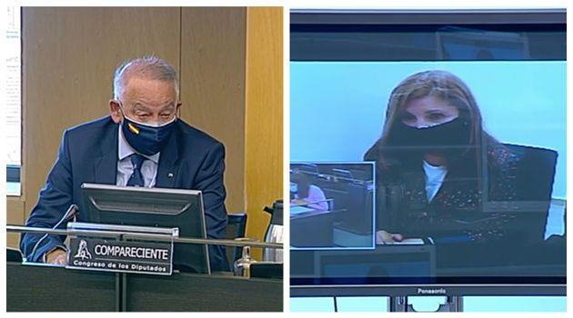 El comisario jubiliado Eugenio Pino y Rosalía Iglesias, esposa del extesorero del PP Luis Bárcenas, este...