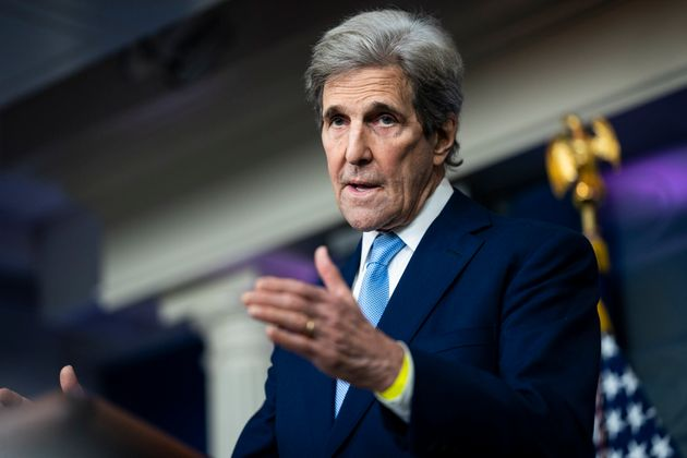 WASHINGTON, DC - APRIL 22: Special Presidential Envoy for Climate John Kerry speaks during a press briefing...