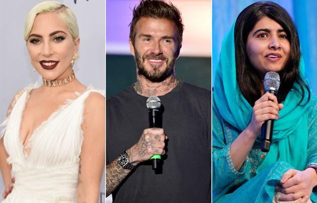 Lady Gaga, David Beckham and Malala