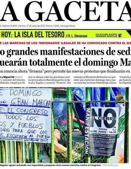 Recorte de la portada de 'La Gaceta' en la que retrataba así a un manifestante en Sol con el pie de foto...