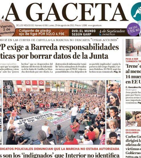 Recorte de la portada de 'La Gaceta' en la que publicaba fotos de asistentes a la asamblea de Sol reclamando...
