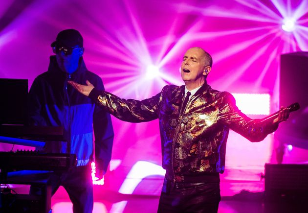 Neil Tennant (R) and Chris Lowe (L) of The Pet Shop Boys performing in