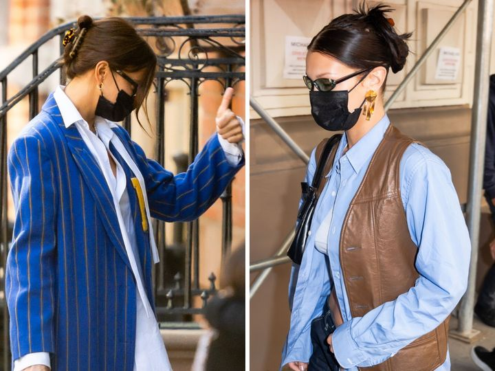 Las modelos Irina Shayk y Bella Hadid con el pelo recogido en sendas pinzas.