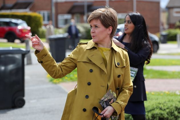AIRDRIE, SCOTLAND - MAY 12: First Minister Nicola Sturgeon and SNP candidate Anum Qaisar-Javed during...