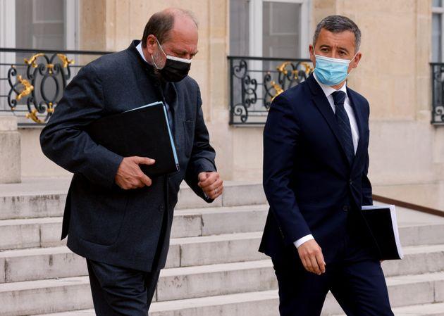 Le garde des Sceaux Éric Dupond-Moretti et le ministre de l'Intérieur Gérald Darmanin,...