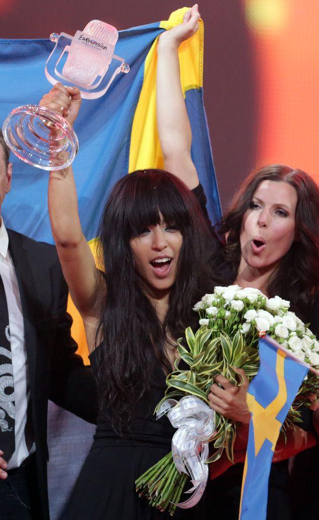 Loreen celebrating her Eurovision win in
