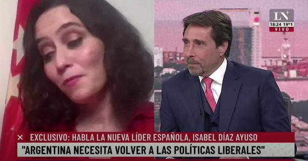 Isabel Díaz Ayuso, entrevistada en una televisión