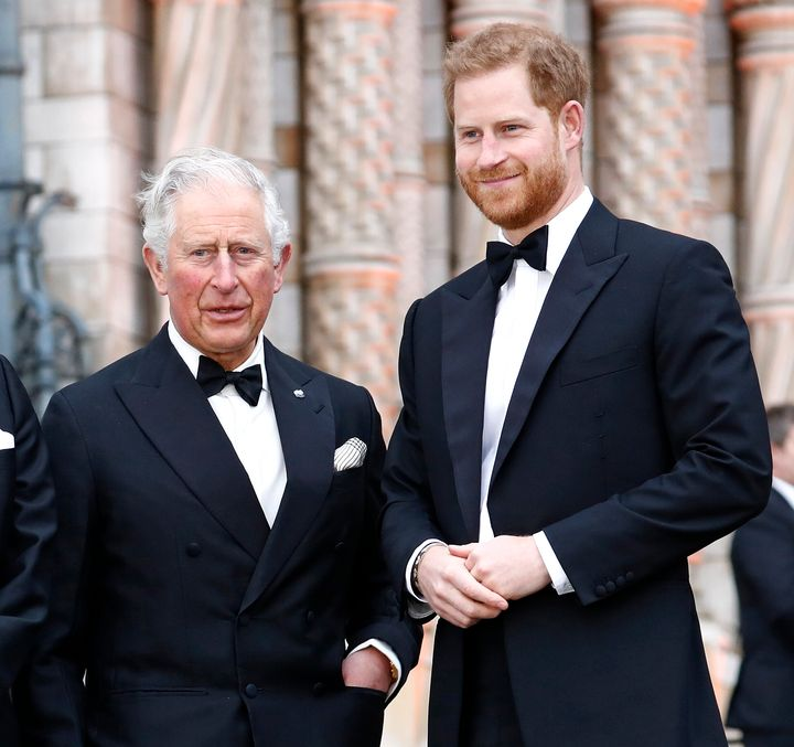 Prince Charles, Prince of Wales and Prince Harry, Duke of Sussex in April 2019.