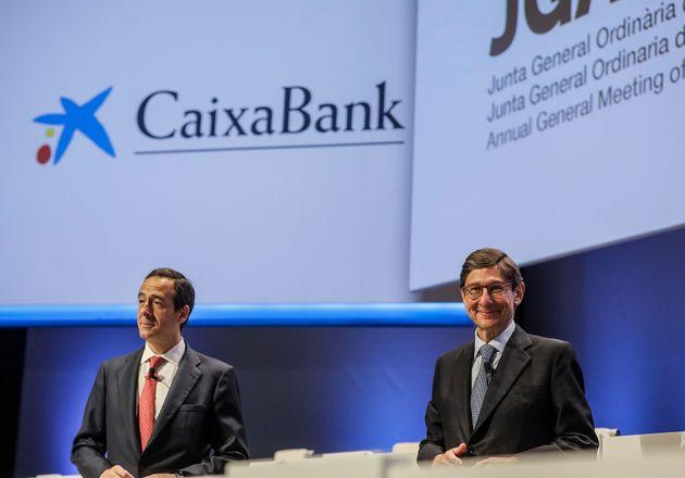 Jose Ignacio Goirigolzarri y Gonzalo Gortazar, en un acto de Caixabank tras la