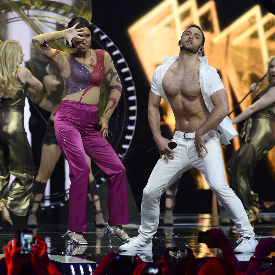 Måns and co-host Petra Mede performing the legendary Eurovision parody Love Love Peace Peace during...