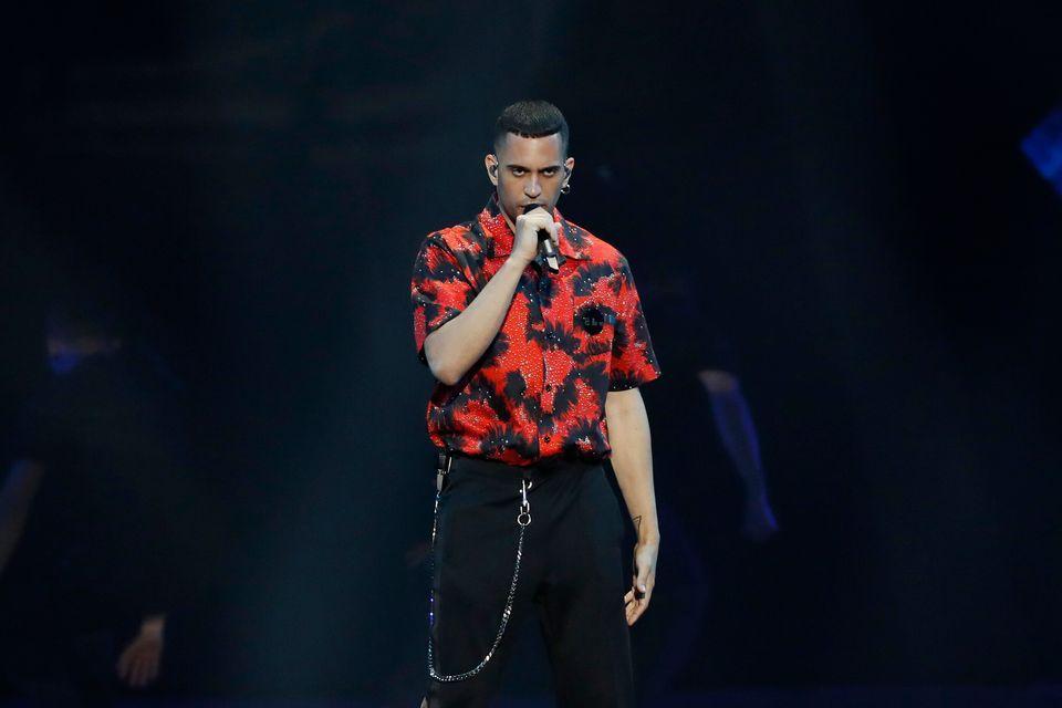 Mahmood performing Soldi at Eurovision in