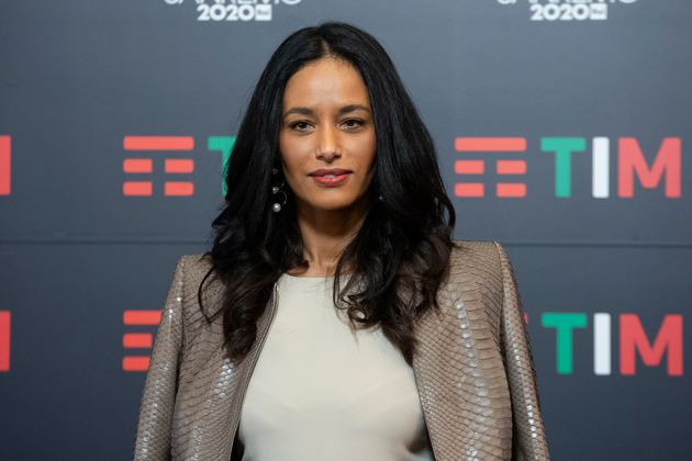Palestinian journalist Rula Jebreal in the Press Room of the 70 Sanremo Music Festival. Sanremo (Italy),...