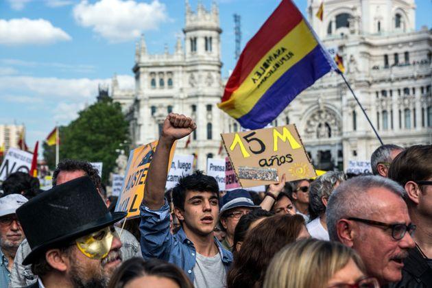 Manifestación durante el quinto aniversario del 15-M en
