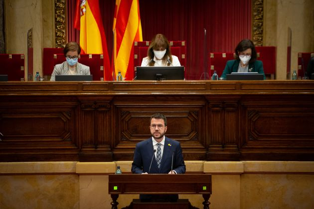 El candidato de ERC a la presidencia de la Generalitat, Pere Aragonès, interviene en el